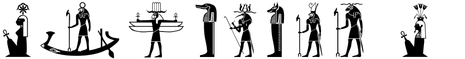 Click to view Egyptian Hieroglyphics – Deities font, character set and sample text