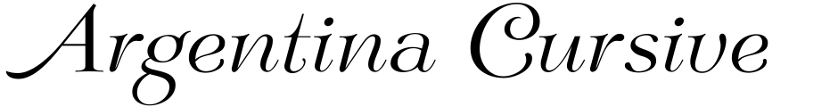 Click to view Argentina Cursive NF font, character set and sample text