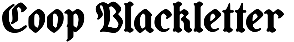 Click to view Coop Blackletter font, character set and sample text
