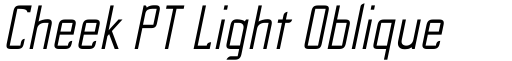 Cheek PT Light Oblique font