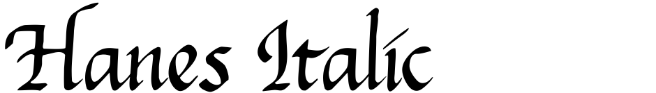 Click to view  Hanes Italic font, character set and sample text