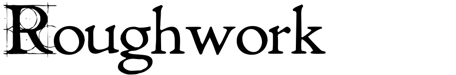 Click to view  Roughwork font, character set and sample text