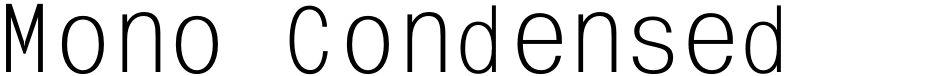 Click to view  Mono Condensed Zoom font, character set and sample text