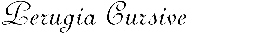 Click to view  Perugia Cursive font, character set and sample text
