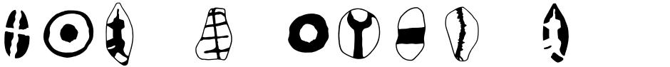 Click to view  Mas d'Azil Symbol font, character set and sample text