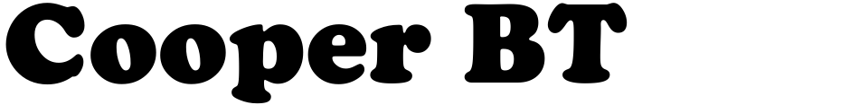 Click to view  Cooper BT font, character set and sample text