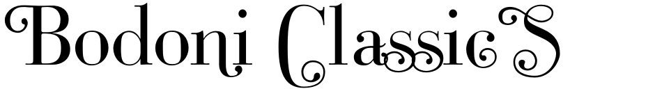 Click to view  Bodoni Classic Swashes font, character set and sample text