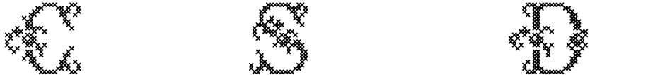 Click to view  Cross Stitch Delicate font, character set and sample text