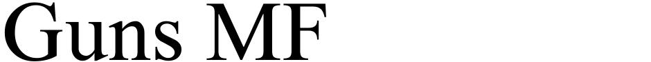 Click to view  Guns MF font, character set and sample text