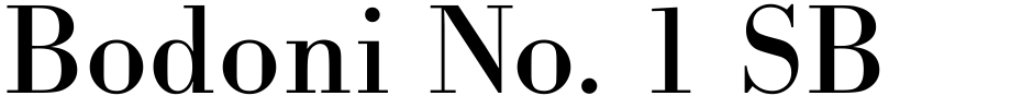 Click to view  Bodoni No. 1 SB font, character set and sample text