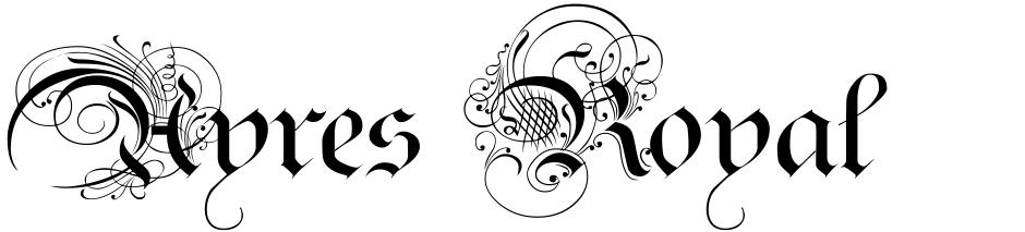 Click to view  Ayres Royal font, character set and sample text