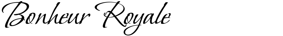 Click to view  Bonheur Royale font, character set and sample text