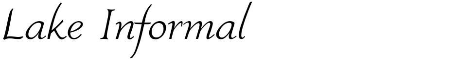 Click to view  Lake Informal font, character set and sample text
