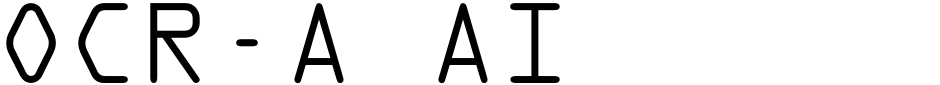 Click to view  OCR-A AI font, character set and sample text