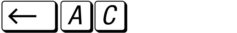 Click to view  Mac Key Caps Pi font, character set and sample text