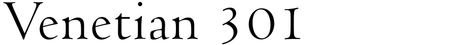 Click to view  Venetian 301 font, character set and sample text