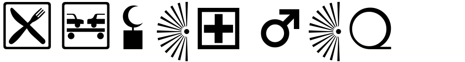Click to view  Signs and Symbols font, character set and sample text