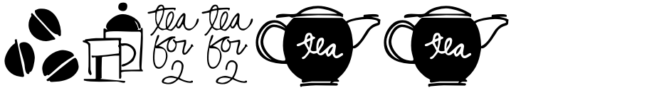 Click to view  Coffee & Tea Doodles font, character set and sample text