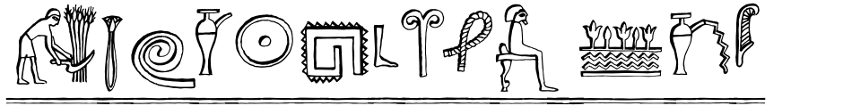 Click to view  Hieroglyph Informal font, character set and sample text