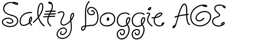 Click to view  Salty Doggie AOE font, character set and sample text