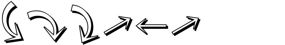 Click to view  Omnidirectional Arrows JNL font, character set and sample text