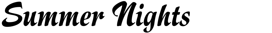 Click to view  Summer Nights font, character set and sample text