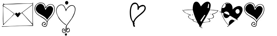 Click to view  Heart Doodles font, character set and sample text