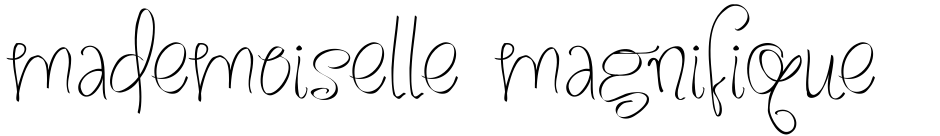 Click to view  Mademoiselle Magnifique PW font, character set and sample text