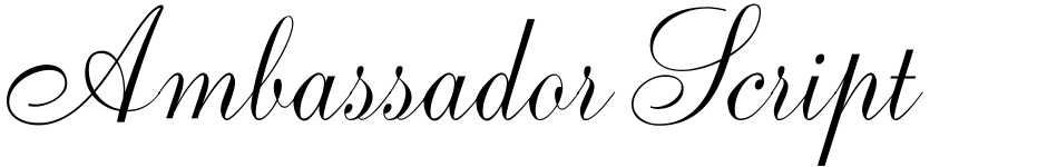 Click to view  Ambassador Script font, character set and sample text