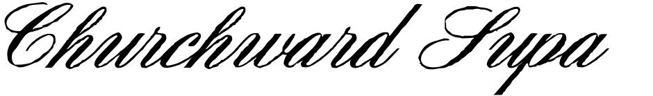 Click to view  Churchward Supascript font, character set and sample text