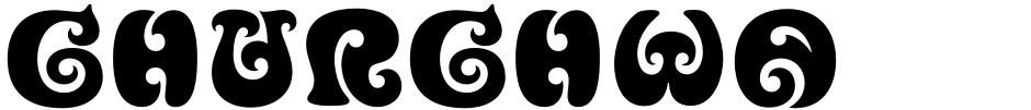 Click to view  Churchward Ta Tiki font, character set and sample text