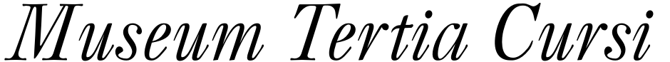 Click to view  Museum Tertia Cursive font, character set and sample text