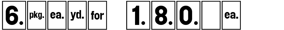 Click to view  Shelf Numbers JNL font, character set and sample text