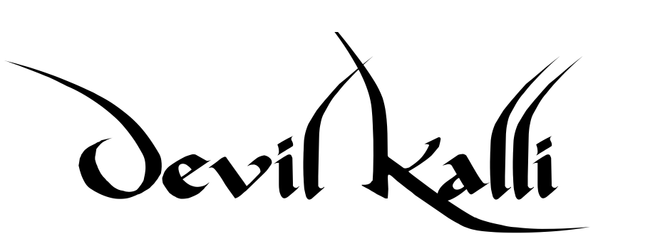 Click to view  Devil Kalligraphy font, character set and sample text
