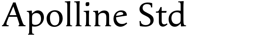 Click to view  Apolline Std font, character set and sample text