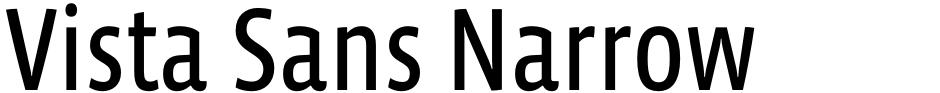 Click to view  Vista Sans Narrow font, character set and sample text