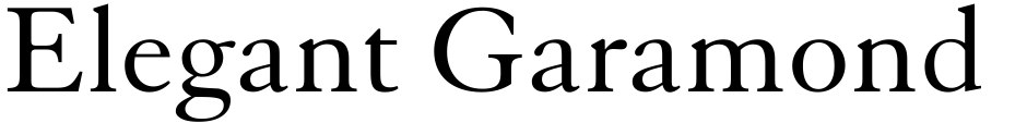 Click to view  Elegant Garamond font, character set and sample text