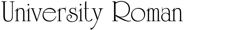 Click to view  University Roman  font, character set and sample text