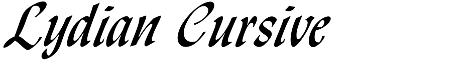 Click to view  Lydian Cursive font, character set and sample text