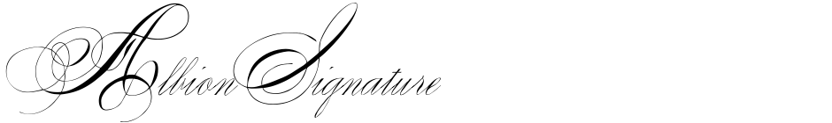 Click to view  Albion Signature font, character set and sample text