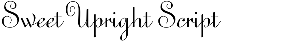 Click to view  Sweet Upright Script font, character set and sample text