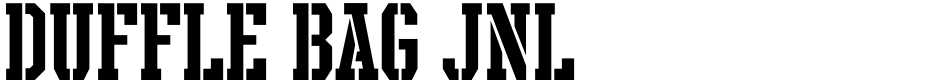 Click to view  Duffle Bag JNL font, character set and sample text
