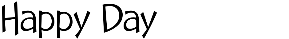 Click to view  Happy Day font, character set and sample text