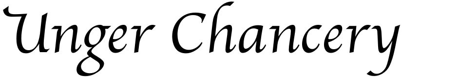 Click to view  Unger Chancery font, character set and sample text
