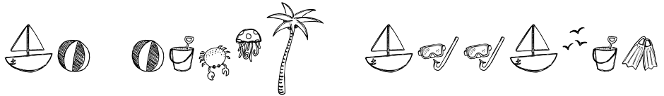 Click to view  DB Beach Doodles font, character set and sample text