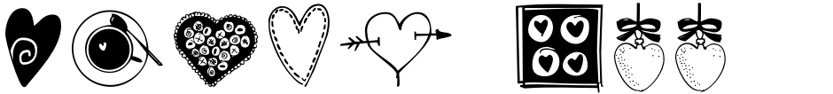 Click to view  Heart Doodles Too font, character set and sample text
