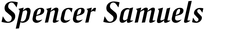 Click to view  Spencer Samuels font, character set and sample text