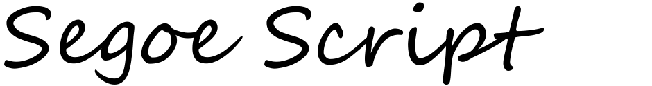 Click to view  Segoe Script font, character set and sample text