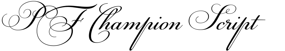 Click to view  PF Champion Script Pro font, character set and sample text