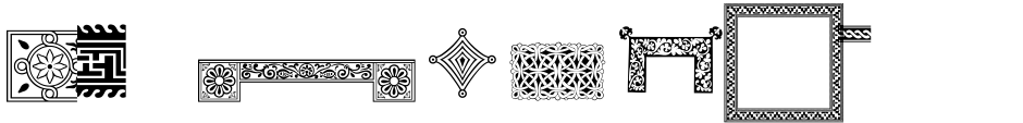 Click to view  PF Ornamental Treasures font, character set and sample text
